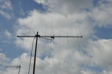 Dual Band Yagi up on the test mast.